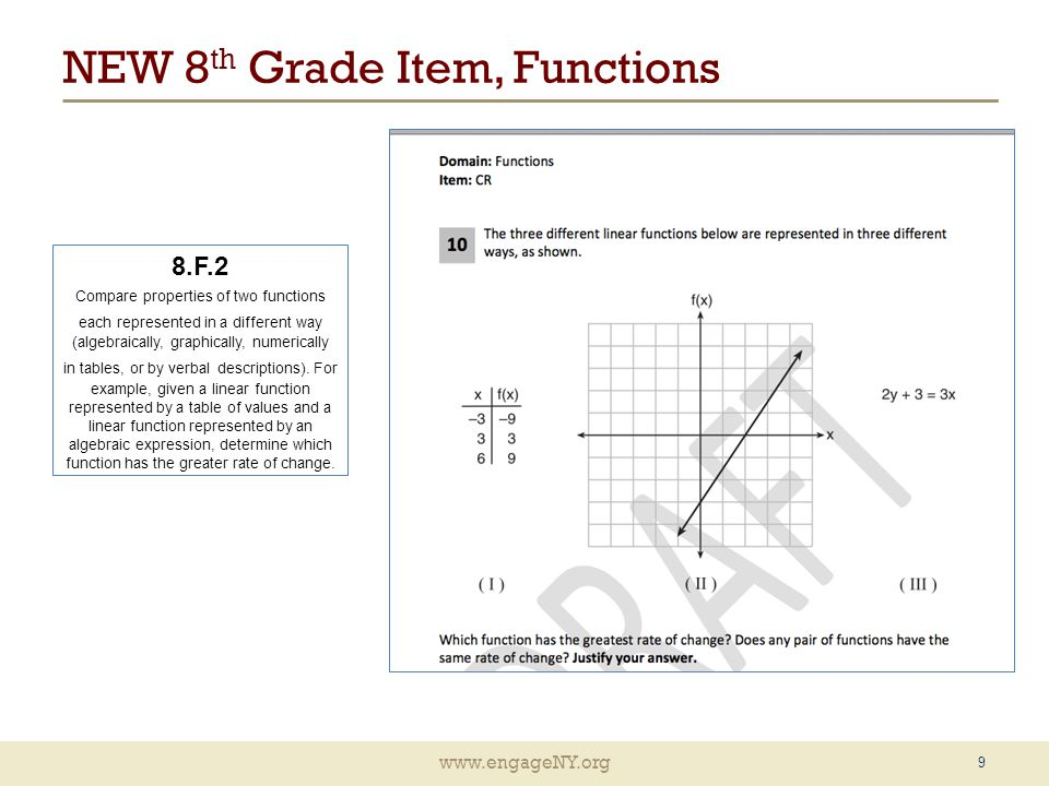 www.engageNY.org NEW 8 th Grade Item, Functions 9 8.F.2 Compare properties of two functions each represented in a different way (algebraically, graphically, numerically in tables, or by verbal descriptions).