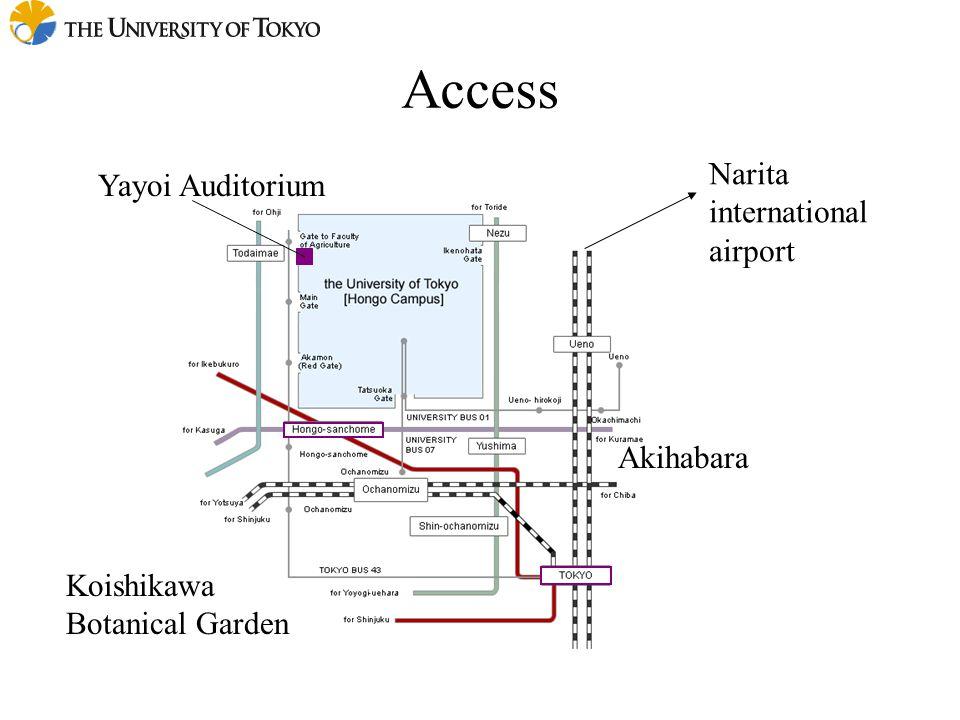 Access Narita international airport Akihabara Koishikawa Botanical Garden Yayoi Auditorium
