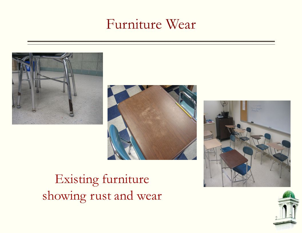 Furniture Wear Existing furniture showing rust and wear