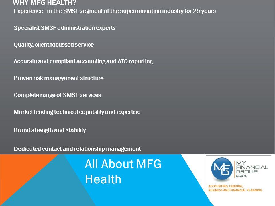 SMSF BACK TO BASICS WHY MFG HEALTH.