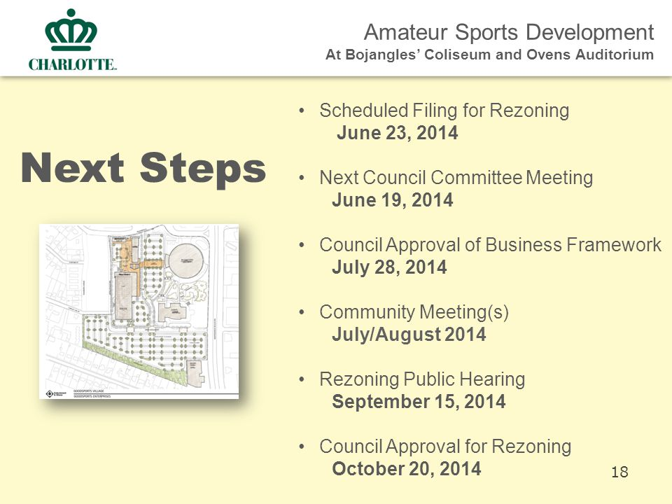 Amateur Sports Development At Bojangles' Coliseum and Ovens Auditorium Next Steps Scheduled Filing for Rezoning June 23, 2014 Next Council Committee Meeting June 19, 2014 Council Approval of Business Framework July 28, 2014 Community Meeting(s) July/August 2014 Rezoning Public Hearing September 15, 2014 Council Approval for Rezoning October 20, 2014 18