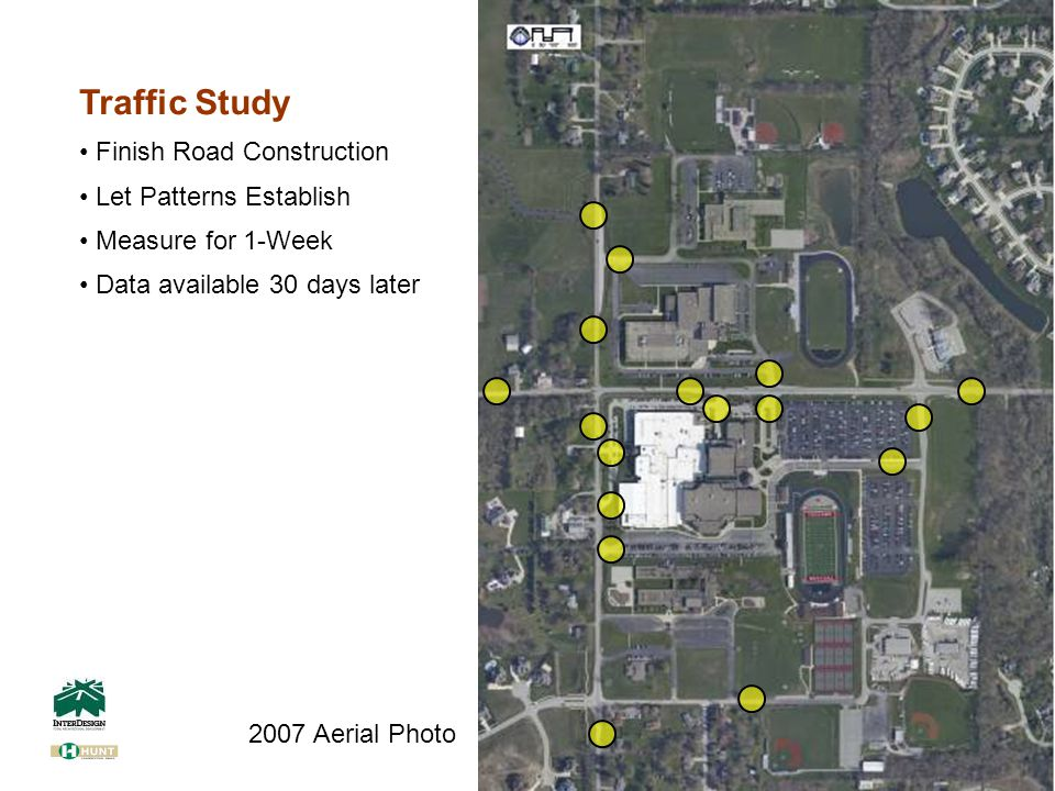 Traffic Study Finish Road Construction Let Patterns Establish Measure for 1-Week Data available 30 days later 2007 Aerial Photo