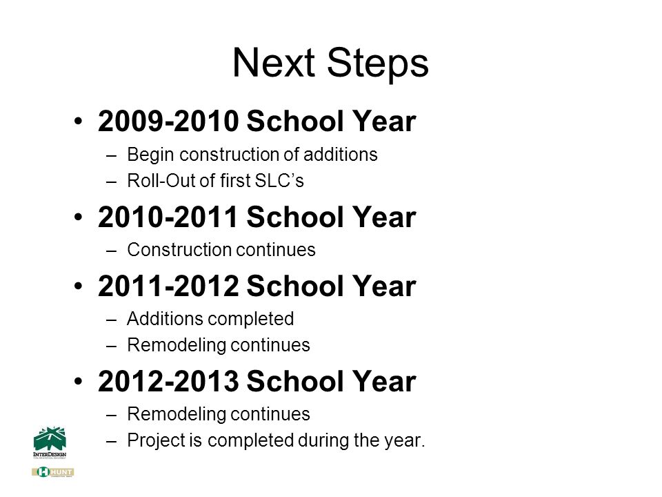 Next Steps 2009-2010 School Year –Begin construction of additions –Roll-Out of first SLC's 2010-2011 School Year –Construction continues 2011-2012 School Year –Additions completed –Remodeling continues 2012-2013 School Year –Remodeling continues –Project is completed during the year.
