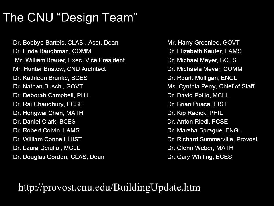 """The CNU """"Design Team"""" Dr. Bobbye Bartels, CLAS, Asst. DeanMr. Harry Greenlee, GOVT Dr. Linda Baughman, COMM Dr. Elizabeth Kaufer, LAMS Mr. William Bra"""