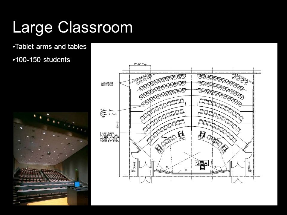 Large Classroom Tablet arms and tables 100-150 students