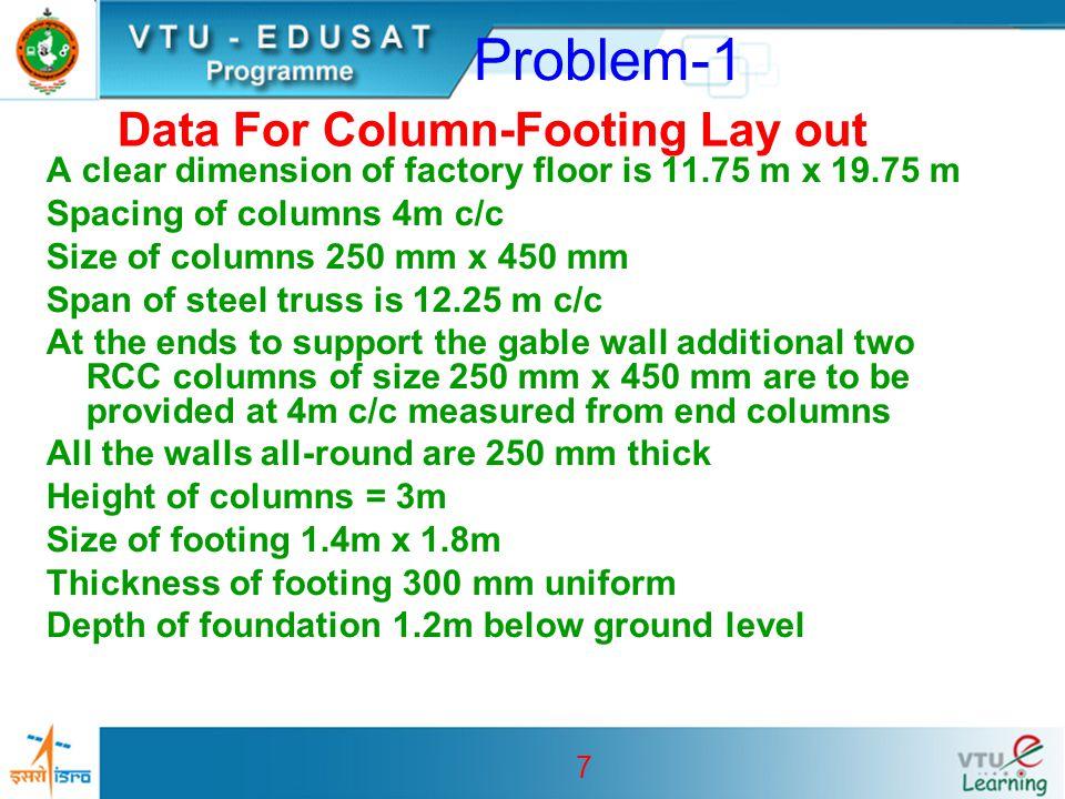 8 Problem-1 External dimensions of the building: Along X-direction = 11.75 + 2 x 0.25 = 12.25 m Along Z-direction = 19.75 + 2 x 0.25 = 20.25 m Centre line dimensions of the building: Along X-direction = 12.25 – 0.45 = 11.80 m Along Z-direction = 20.25 -0.25 = 20.00 m Preliminary Calculations