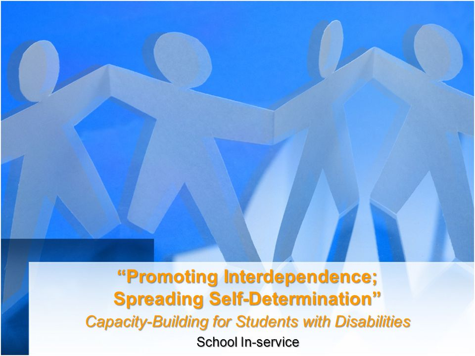 Promoting Interdependence; Spreading Self-Determination Capacity-Building for Students with Disabilities School In-service