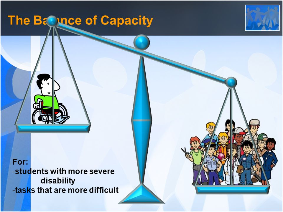 The Balance of Capacity For: -students with more severe disability -tasks that are more difficult