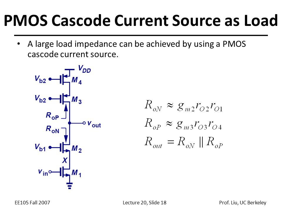 EE105 Fall 2007Lecture 20, Slide 18Prof. Liu, UC Berkeley PMOS Cascode Current Source as Load A large load impedance can be achieved by using a PMOS c