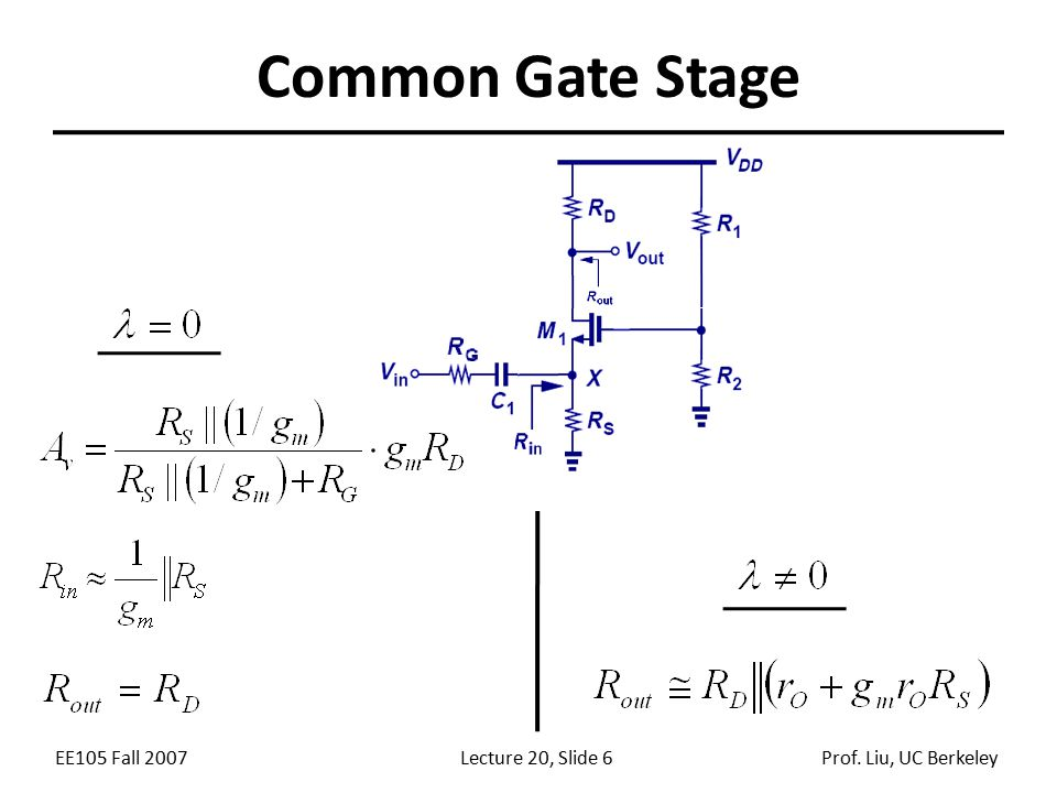 EE105 Fall 2007Lecture 20, Slide 6Prof. Liu, UC Berkeley Common Gate Stage