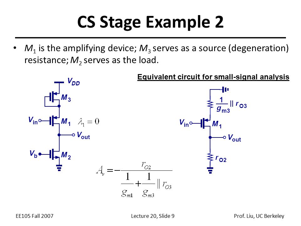 EE105 Fall 2007Lecture 20, Slide 9Prof. Liu, UC Berkeley CS Stage Example 2 M 1 is the amplifying device; M 3 serves as a source (degeneration) resist