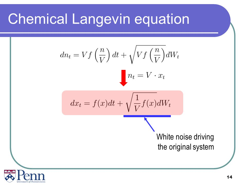 14 Chemical Langevin equation White noise driving the original system