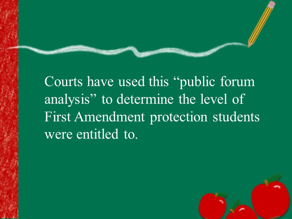 "Courts have used this ""public forum analysis"" to determine the level of First Amendment protection students were entitled to."