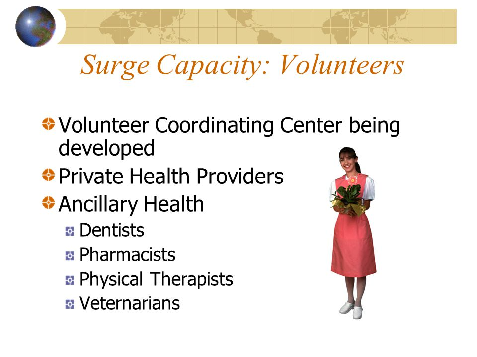 Surge Capacity: Volunteers Volunteer Coordinating Center being developed Private Health Providers Ancillary Health Dentists Pharmacists Physical Thera