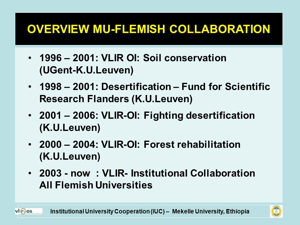 1996 – 2001: VLIR OI: Soil conservation (UGent-K.U.Leuven) 1998 – 2001: Desertification – Fund for Scientific Research Flanders (K.U.Leuven) 2001 – 20