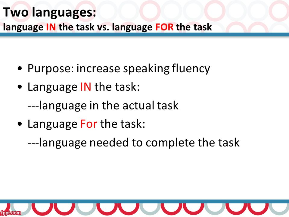 Two languages: language IN the task vs.