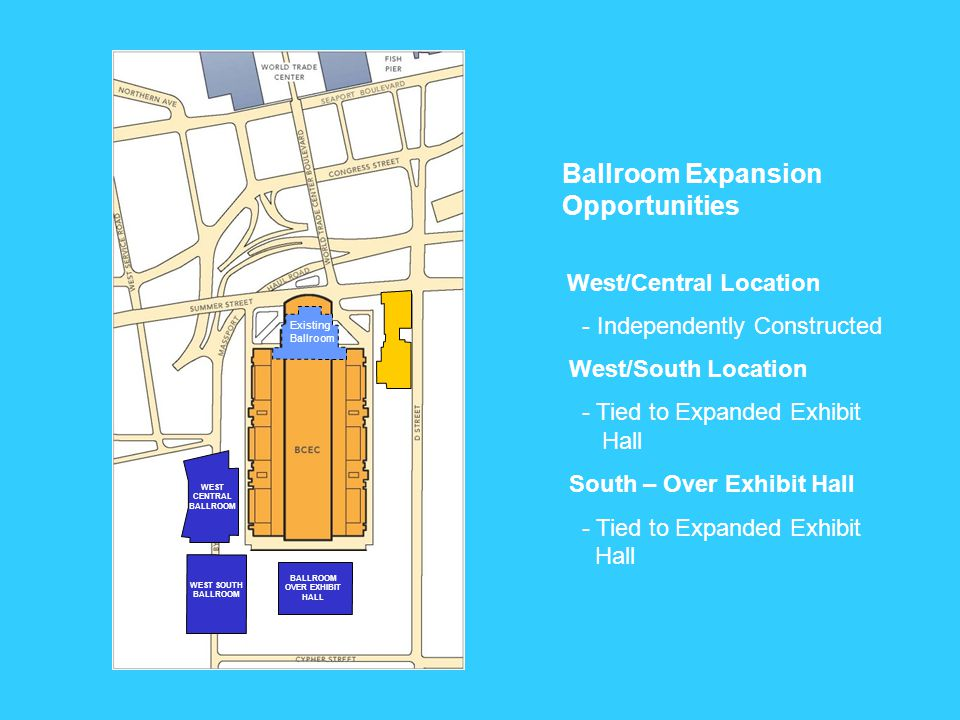 WEST EAST SOUTHEND EAST CENTRAL NORTH Potential Auditorium Locations North - Core Block - Constructed Independently East/Central - Constructed Independently East/South End - In Conjunction with Expanded Exhibit Hall West - In Conjunction with Expanded Exhibit Hall