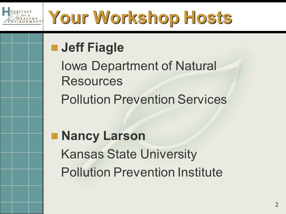 2 Your Workshop Hosts Jeff Fiagle Iowa Department of Natural Resources Pollution Prevention Services Nancy Larson Kansas State University Pollution Pr