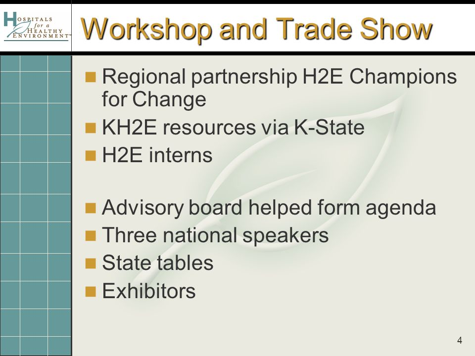 4 Workshop and Trade Show Regional partnership H2E Champions for Change KH2E resources via K-State H2E interns Advisory board helped form agenda Three
