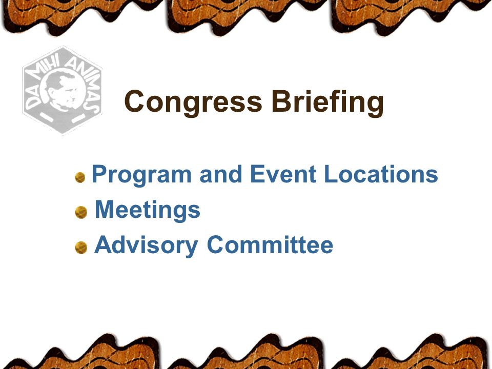 Congress Briefing Program and Event Locations Meetings Advisory Committee