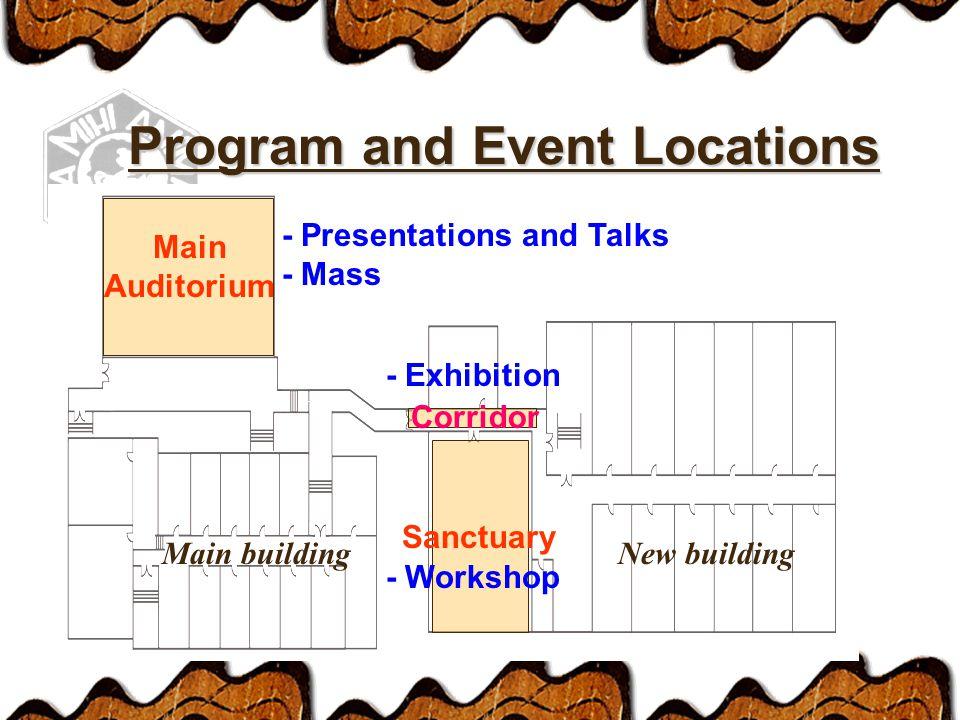 Main Auditorium - Presentations and Talks - Mass Corridor - Exhibition Main buildingNew building Sanctuary - Workshop