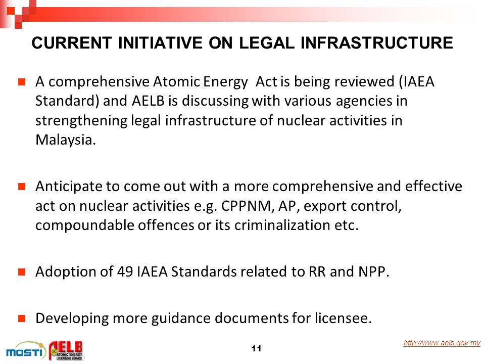 http://www.aelb.gov.my CURRENT INITIATIVE ON LEGAL INFRASTRUCTURE A comprehensive Atomic Energy Act is being reviewed (IAEA Standard) and AELB is disc