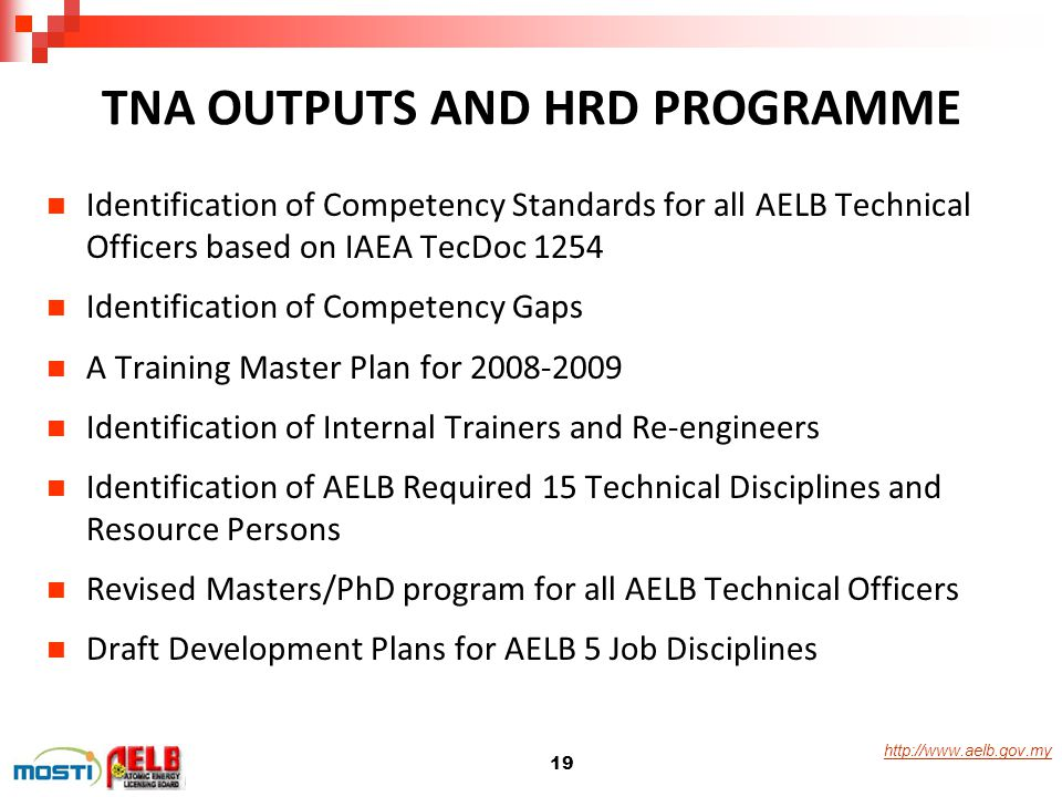 http://www.aelb.gov.my Identification of Competency Standards for all AELB Technical Officers based on IAEA TecDoc 1254 Identification of Competency G