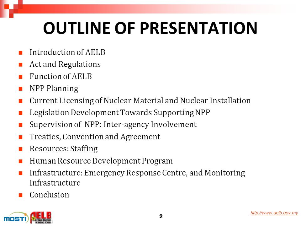 http://www.aelb.gov.my OUTLINE OF PRESENTATION Introduction of AELB Act and Regulations Function of AELB NPP Planning Current Licensing of Nuclear Mat