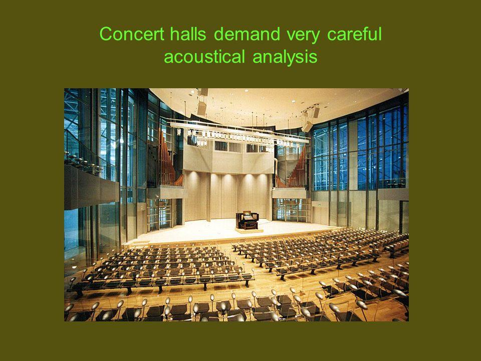 Concert halls demand very careful acoustical analysis