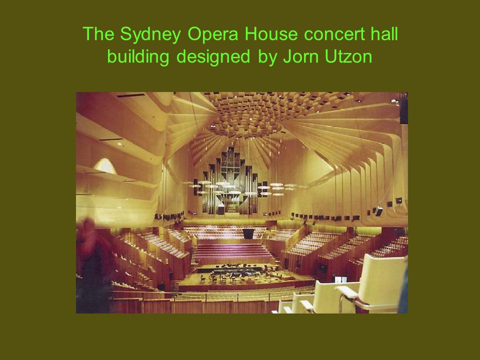 The Sydney Opera House concert hall building designed by Jorn Utzon