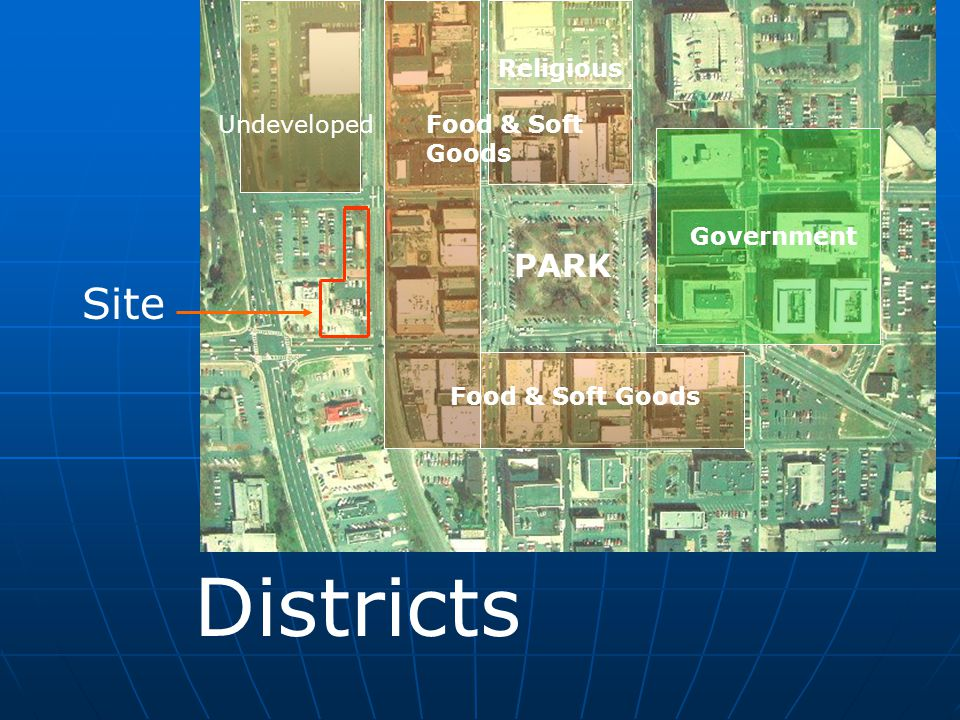 Site Districts Government Food & Soft Goods Religious Undeveloped PARK Food & Soft Goods