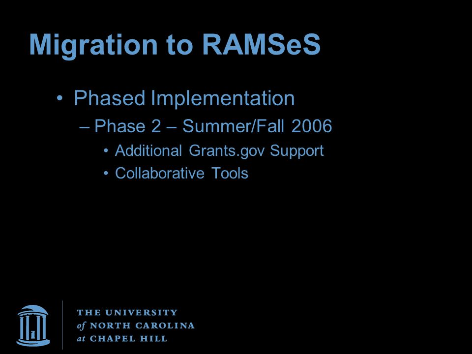 Migration to RAMSeS Phased Implementation –Phase 2 – Summer/Fall 2006 Additional Grants.gov Support Collaborative Tools
