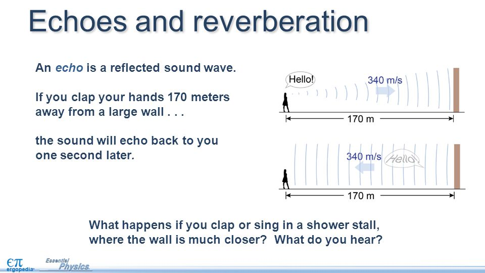 An echo is a reflected sound wave. If you clap your hands 170 meters away from a large wall...