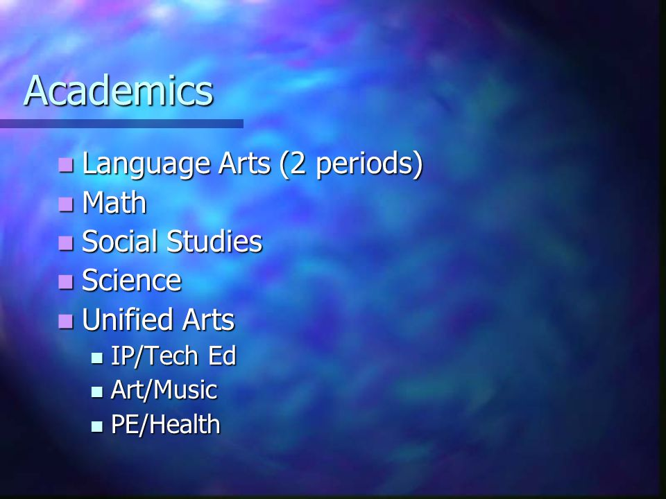 Academics Language Arts (2 periods) Language Arts (2 periods) Math Math Social Studies Social Studies Science Science Unified Arts Unified Arts IP/Tech Ed IP/Tech Ed Art/Music Art/Music PE/Health PE/Health