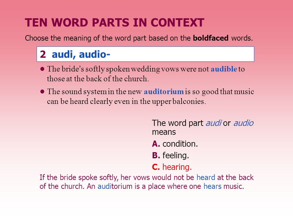 TEN WORD PARTS IN CONTEXT The word part path or -pathy means A.