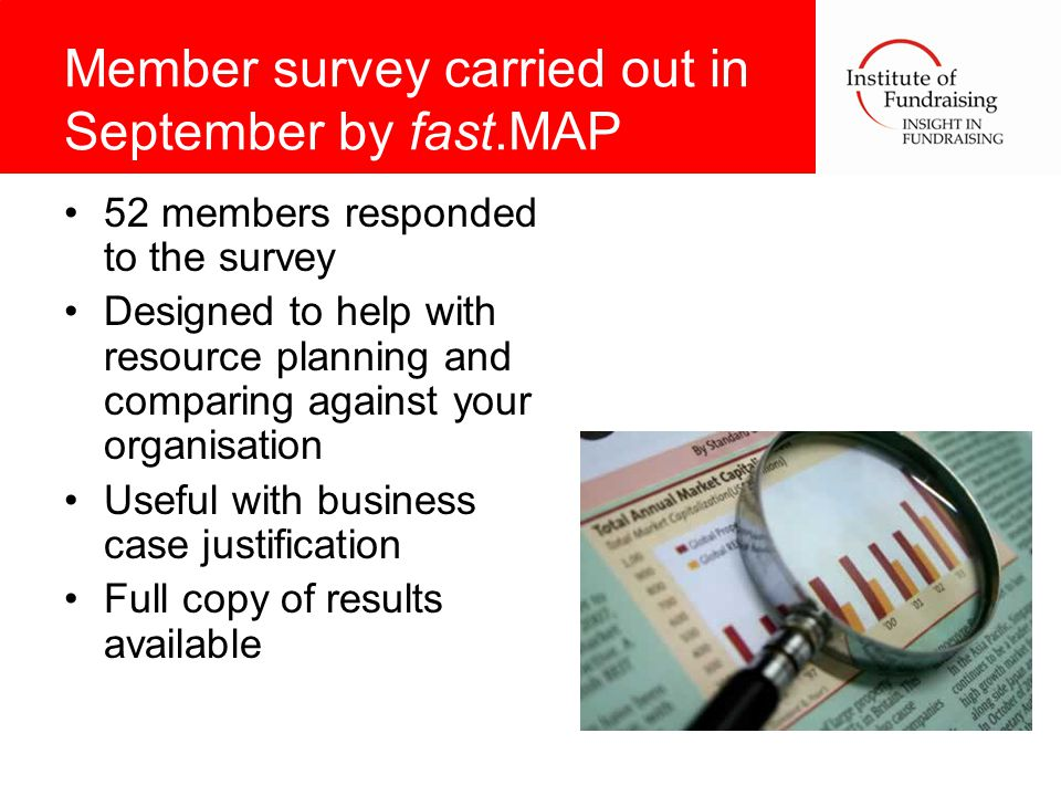 Member survey carried out in September by fast.MAP 52 members responded to the survey Designed to help with resource planning and comparing against your organisation Useful with business case justification Full copy of results available