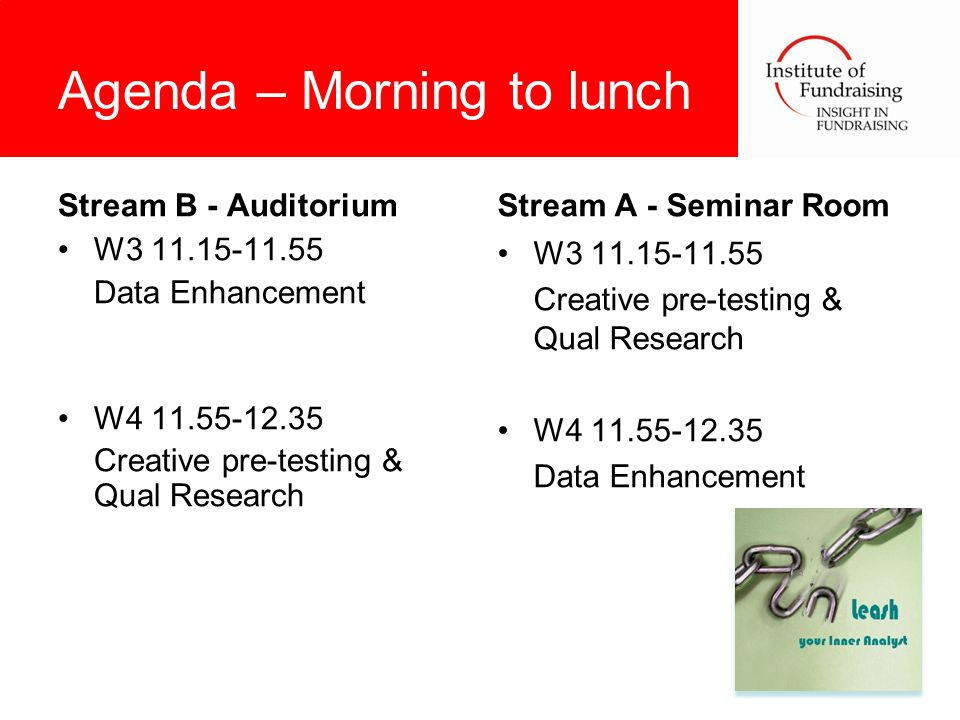 Agenda – Morning to lunch Stream B - Auditorium W3 11.15-11.55 Data Enhancement W4 11.55-12.35 Creative pre-testing & Qual Research Stream A - Seminar Room W3 11.15-11.55 Creative pre-testing & Qual Research W4 11.55-12.35 Data Enhancement