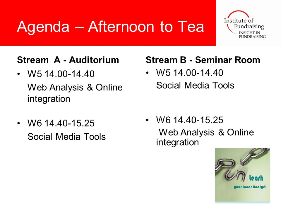 Agenda – Afternoon to Tea Stream A - Auditorium W5 14.00-14.40 Web Analysis & Online integration W6 14.40-15.25 Social Media Tools Stream B - Seminar Room W5 14.00-14.40 Social Media Tools W6 14.40-15.25 Web Analysis & Online integration
