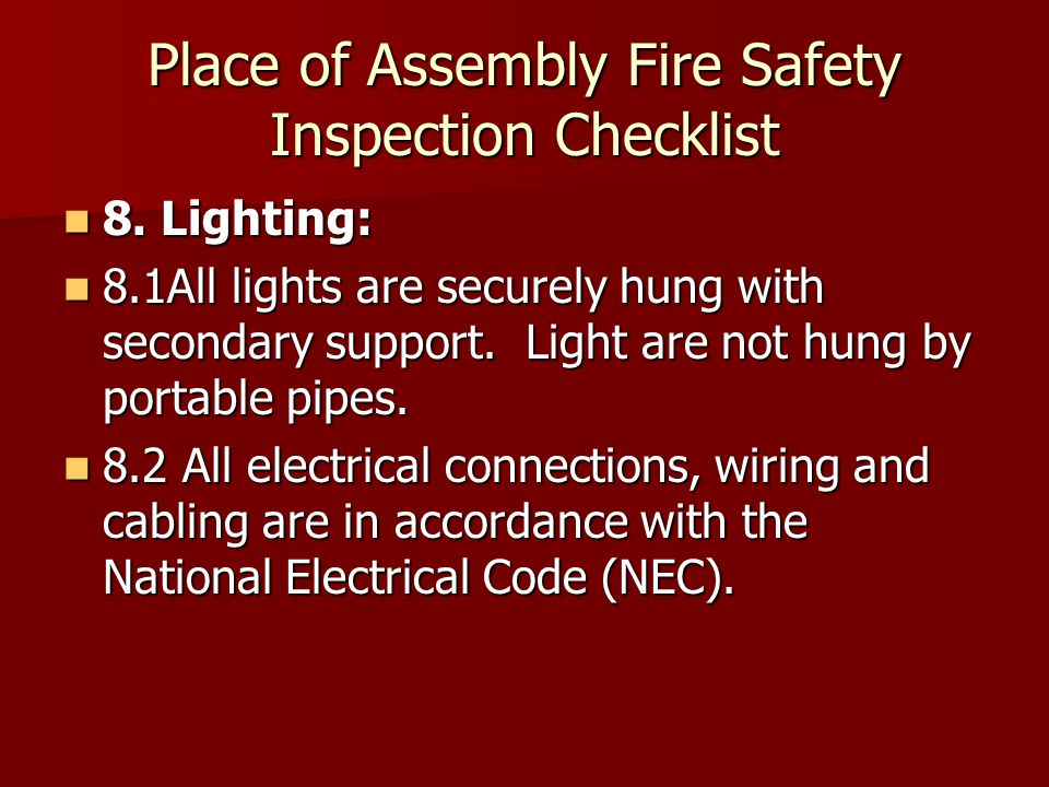 Place of Assembly Fire Safety Inspection Checklist 8.