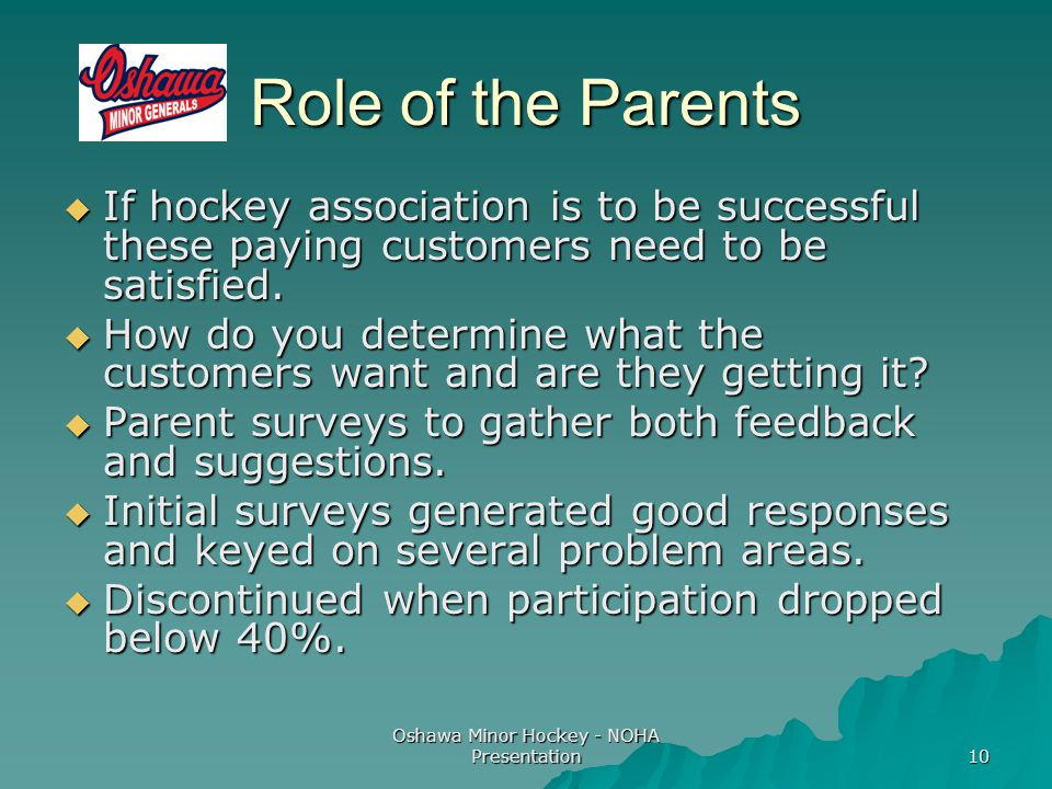 Oshawa Minor Hockey - NOHA Presentation 10 Role of the Parents  If hockey association is to be successful these paying customers need to be satisfied.