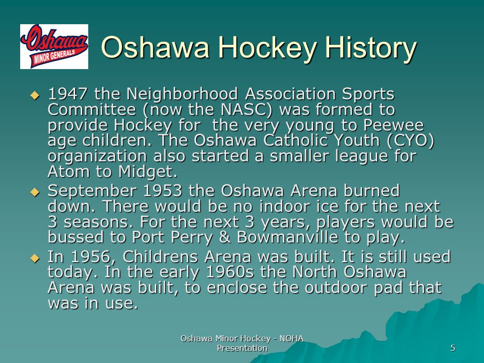 Oshawa Minor Hockey - NOHA Presentation 5 Oshawa Hockey History Oshawa Hockey History  1947 the Neighborhood Association Sports Committee (now the NASC) was formed to provide Hockey for the very young to Peewee age children.