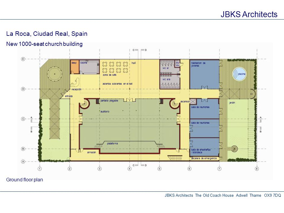 JBKS Architects JBKS Architects The Old Coach House Adwell Thame OX9 7DQ Ground floor plan auditorio zona de cafe hall cocinadesp wc sr wc sra habitać
