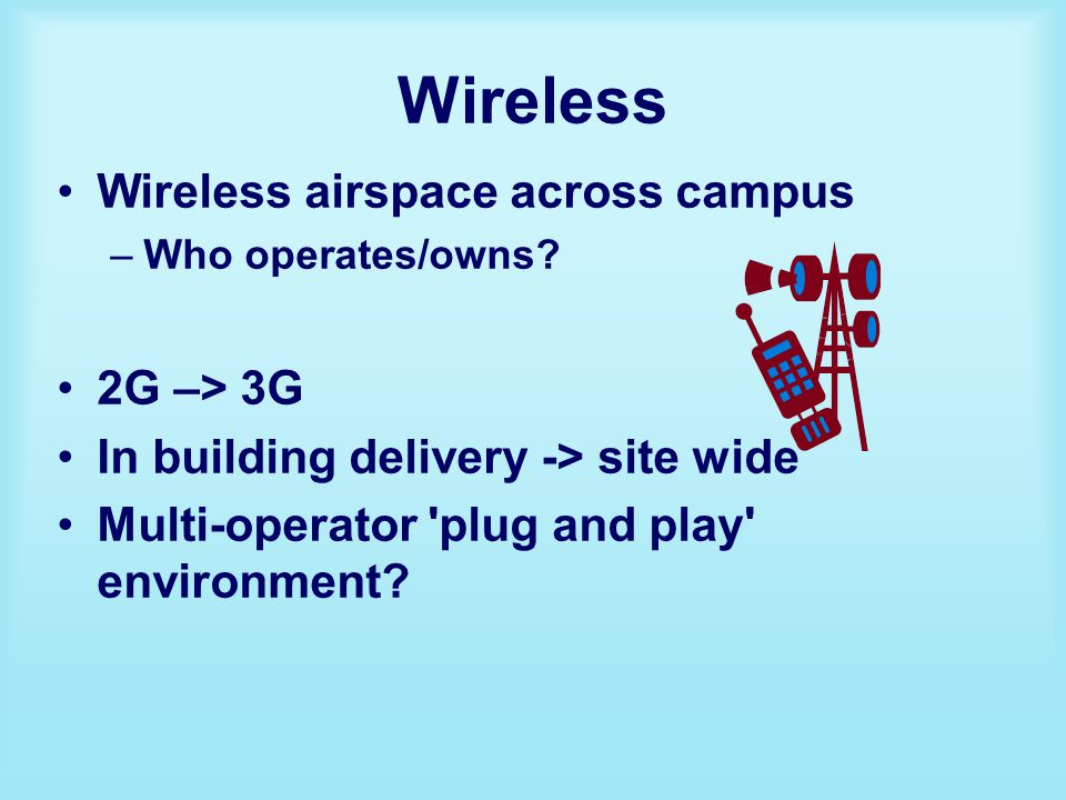 Wireless Wireless airspace across campus –Who operates/owns.