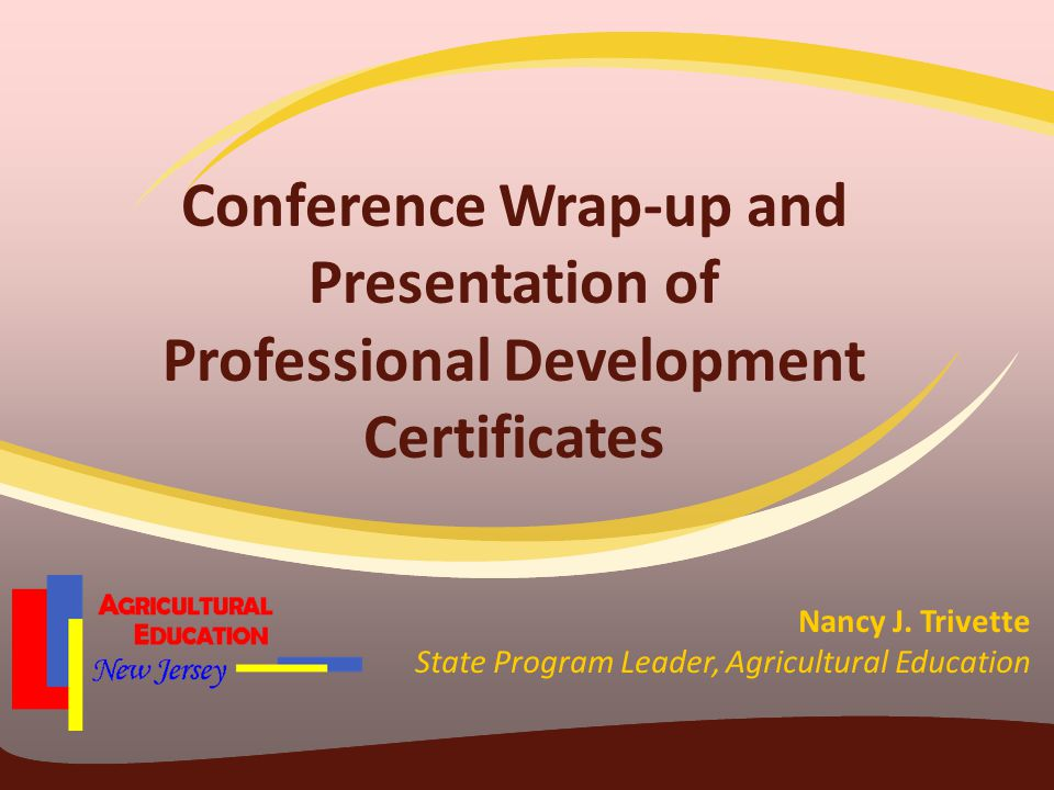 Conference Wrap-up and Presentation of Professional Development Certificates Nancy J.