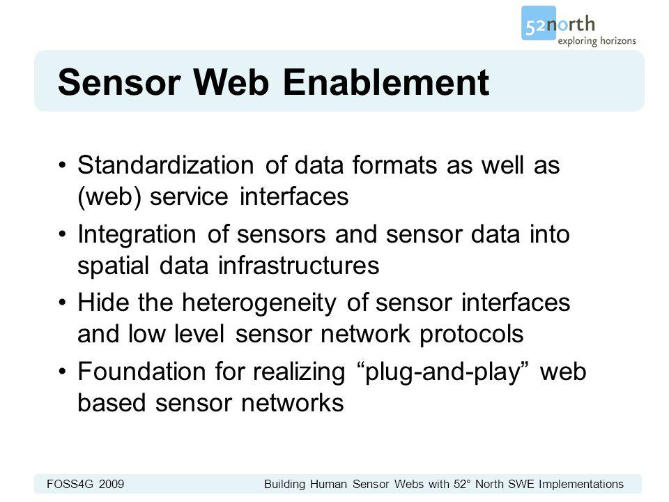 FOSS4G 2009 Building Human Sensor Webs with 52° North SWE Implementations Sensor Web Enablement Standardization of data formats as well as (web) servi