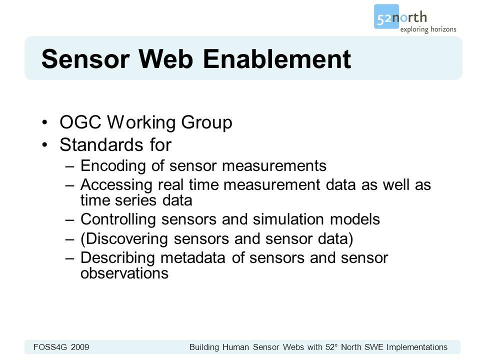 FOSS4G 2009 Building Human Sensor Webs with 52° North SWE Implementations Sensor Web Enablement OGC Working Group Standards for –Encoding of sensor me