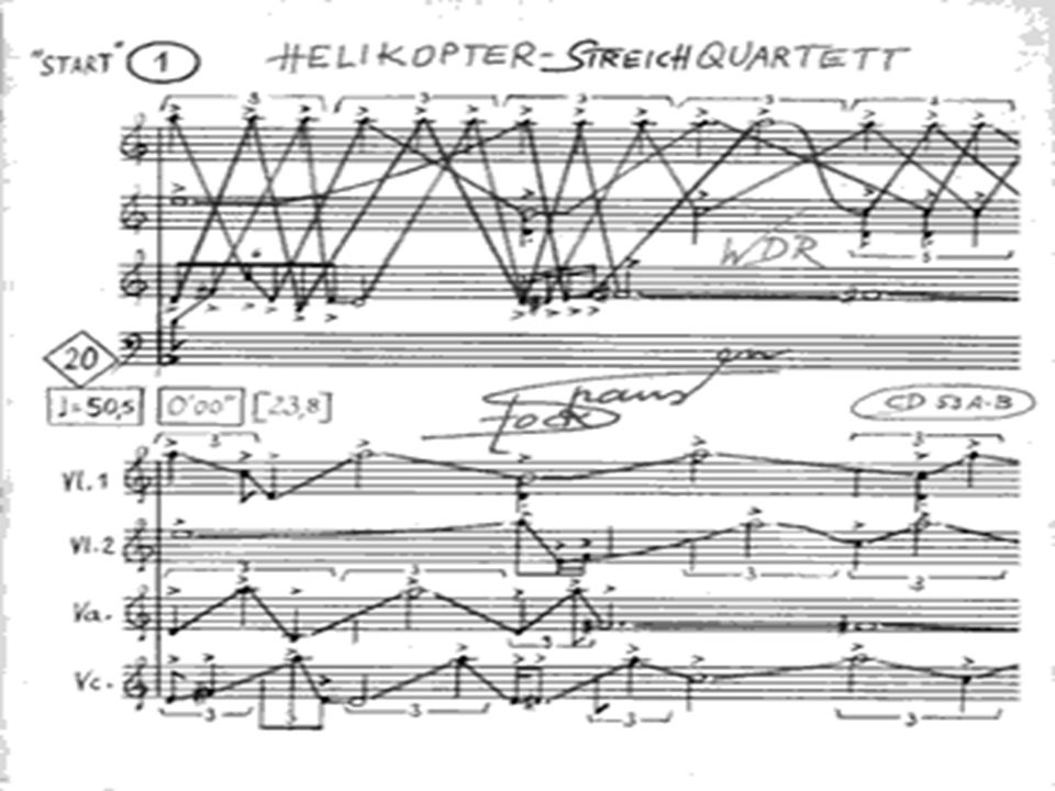 Helikopter Streichquartett Most well known piece from Licht. Most well known piece from Licht. Appears in the third act from Mittwoch. Appears in the