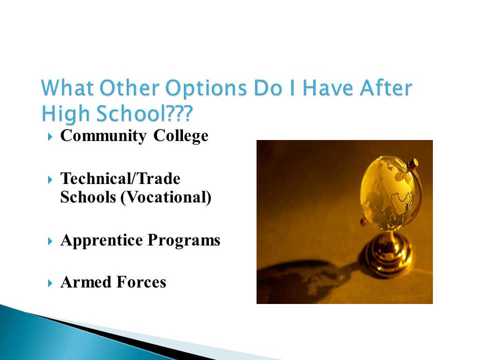  Community College  Technical/Trade Schools (Vocational)  Apprentice Programs  Armed Forces