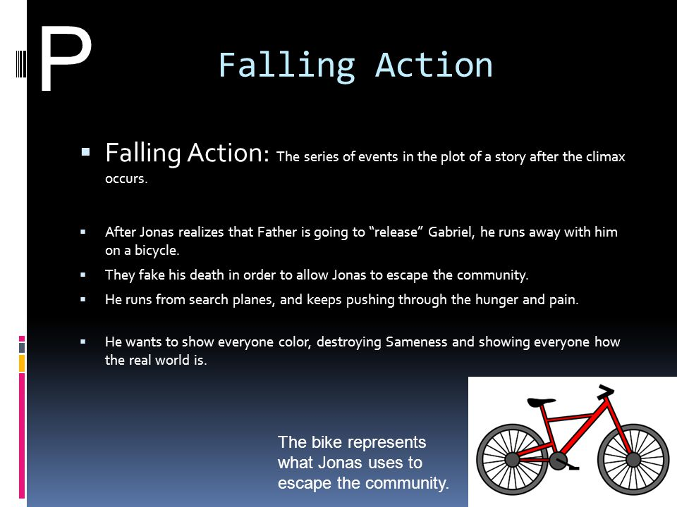"""Falling Action  Falling Action: The series of events in the plot of a story after the climax occurs.  After Jonas realizes that Father is going to """""""
