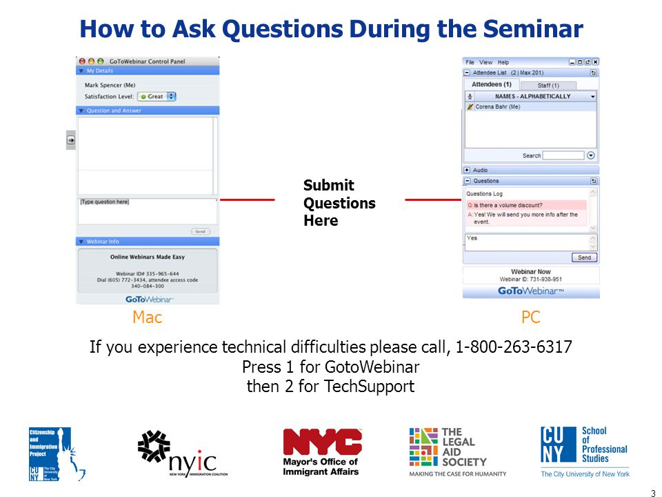 3 How to Ask Questions During the Seminar Submit Questions Here If you experience technical difficulties please call, 1-800-263-6317 Press 1 for GotoW